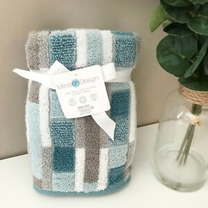 2 New Mind On Design Cotton Hand Towel - Turq Blue Taupe Gray Combo Raised Tiles