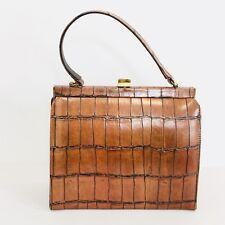 Vtg 60s Brown Croc Embossed Faux Leather Frame Handbag Gold Tone Hardware