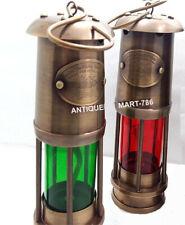 Antique Set of Two Miner Lamp Nautical Ship Lantern Oil Lamp Maritime Boat Lamp