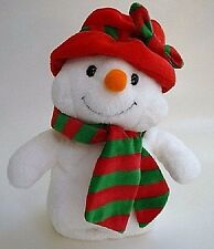 """Ty Pluffies Ms. Snow Snowman/Woman 10"""" Plush Tylux 2006 Red Hat Striped Scarf"""
