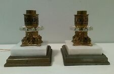Vintage Marble Base lamps Converted Candle Stands Victorian style Pair