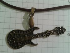 """TIBETAN ANTIQUE GOLD PLT """"LARGE GUITAR"""" PENDANT ON18"""" BROWN WAXED  NECKLACE"""