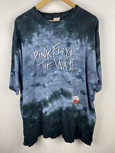 Vintage Pink Floyd The Wall Liquid Blue Mens T Shirt Size 2XL Tie Dye 2007 Crew