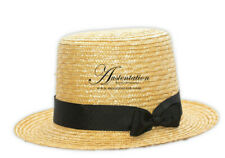 Austentation Regency/Victorian Style Men's Straw Top Hat with Black Ribbon Band