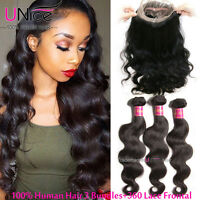 Indian Body Wave Human Hair 3 Bundles With 360 Lace Frontal UNice Virgin Hair