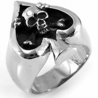 Poker Spade Heart Skull Stainless Steel Punk Rock Men's Ring Casting Band