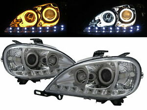 Columbia 96-15 Truck Cotton LED Angel-Eye Headlight Black for Freightliner LHD