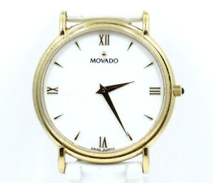 Classic Vintage MOVADO MUSEUM 87-E4-0885 Gold Plate White ROMAN NUMERAL Watch