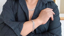 "1/2 Sale! 18K WGP Silver 24"" Necklace & 9"" Bracelet Set, Men Xmas Birthday Gift"