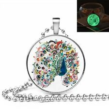 GLOW IN THE DARK PEACOCK LARGE PENDANT NECKLACE / Jewellery Gift Idea Festival