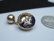 Single Antique Victorian era 10K Yellow Gold Blue Enamel Emboss Cufflink Button