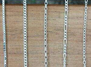 """925 Sterling Silver Chain Necklace Box Curb Belcher Figaro Trace 15"""" to 30"""""""