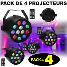 PACK DE 4 PROJECTEURS PARLED MINI DMX + 4 TELECOMMANDES JEUX DE LUMIERE PUISSANT