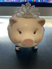 """Ceramic Cute """"Little Princess"""" Piggy Bank Handcrafted by Mud Pie"""