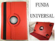 "FUNDA CARCASA + CRISTAL TABLET DE 10"" 10,1"" UNIVERSAL GIRATORIA 360º ROJO"