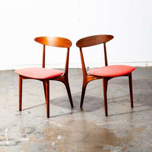 Mid Century Danish Modern Dining Chair Set Pair Two Kurt Ostervig Red Teak Oak