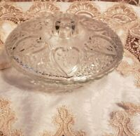 Vintage KIG Malaysia Glass Nut And Candy Lid & Bowl Hearts Roses Fleur De Lis