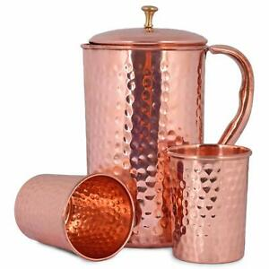 Handcrafted 100% Pure Copper Jug Pitcher with 2 Glass Drinkware Hammered Health