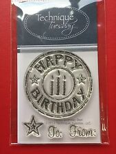 NEW• HAPPY BIRTHDAY SEAL STAMPS SET TECHNIQUE TUESDAY Clear Unmounted Stamping