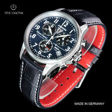 Junkers 40mm Mount Everest German Made Swiss Chronograph Leather Strap Watch