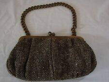 J Crew Wool Small Handbag Brown Tan Gold Hardware