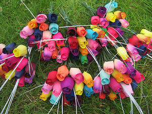 Roses Bouquet Wooden Flowers Wood Rose Artificial Flowers Birthday Colourful