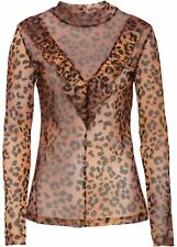 Shirt mit Volant Gr. 36/38 Leopard Damenshirt Langarm Bluse Oberteil Neu
