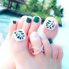 24 X Fashion Leaves False Fake Artificial Toe Nails Tips Toe Nail Holiday Hot