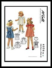 McCall 4056 Vintage 1940's DRESS FROCK & PANTIES GIRL Pattern TODDLER  Size -4-