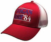 Reagan Bush 84 Campaign Adult Trucker Hat-Rust Red with White Mesh