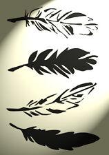 Shabby Chic Stencil Piuma foglio tagliato a 4-singolare parete vintage a4 297x210mm
