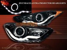 2011-2013 Elantra Projector Headlights One Halo CCFL Chrome LED Strip New