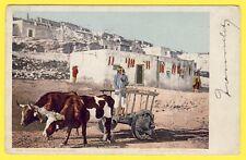 cpa USA Stamp BUFFALO NY 1906 Old CARRETA LAGUNA PUEBLO Attelage de BŒUFS INDIEN
