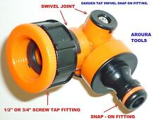 GARDEN TAP SNAP ON HOSE FITING WITH SWIVEL JOINTS - NEW DESIGN.