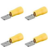 100 Flachstecker gelb, 6,3 für Kfz, Elektro u. Elektronik b. 300 Volt verwendbar