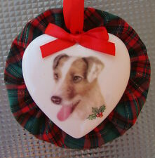 Jack Russell Dog Christmas Ornament, Heart Shaped, Handmade in the USA!
