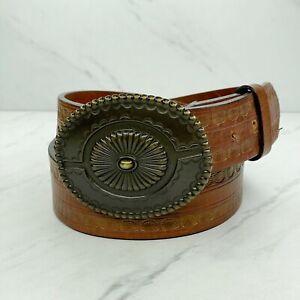 Fossil Wide Tooled Genuine Leather Belt Boho Statement Buckle Size Medium 34