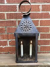 Vintage Punched Tin Dual Candle Hanging /Table Lamp Glass Front