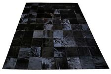 New Large Cowhide Rug Patchwork Cowskin Cow Hide Leather Carpet Black.