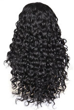 Natural Black Curly Wavy Dark High Quality thick Middle Part Lacefront Full Wig