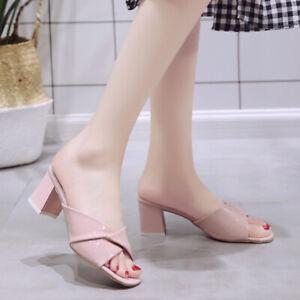 Women's Peep Toe Mules Sandals Block Heels Slippers Casual Slip On Shoes Elegant
