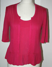 Per Una UK12 EU40 US8 new bright pink 2-in-1 short sleeve top/cardigan