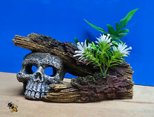 Aquarium Ornament Skull Log Plant Decoration Fish Bowl Tank Goldfish New