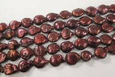 11-12 mm B Grade Flat Coin Genuine Freshwater Pearl Beads Burgundy Red (#422)