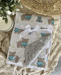 Baby Child Nursery Blanket Mink Sherpa Cot Soft Pram Hippo