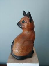 """Carved Wood Cat Sitting Cat Siamese Cat 6 1/4"""" Tall Green Eyes"""