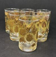 6 Pc Vintage Gold Sunflower Flower Leaf Juice Glasses Set Votive Candle Holders