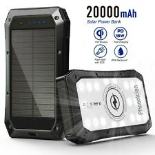 20,000 mAh Portable Solar Power Bank 3 x USB 5W Wireless Charge Water Resistant