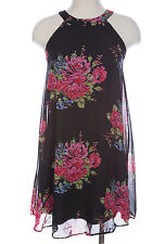 NEW BETSEY JOHNSON BLACK PINK FLORAL PRINT SLEEVELESS CHIFFON LINED DRESS Sz 6