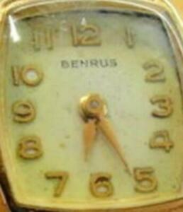 Vintage Woman Watch Benrus 17J Diamond 20 Micron Gold Electroplate Wind Up Swiss